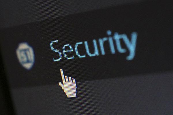 Das Wort Security auf einem Computerbildschirm